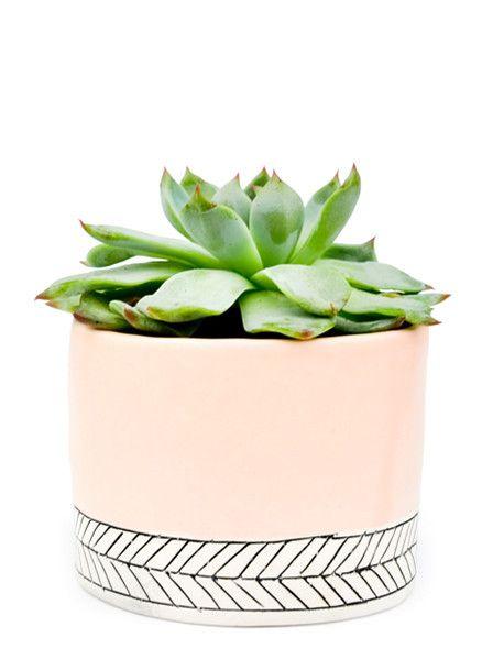 Pastel Herringbone Mini Planter via leifshop.com