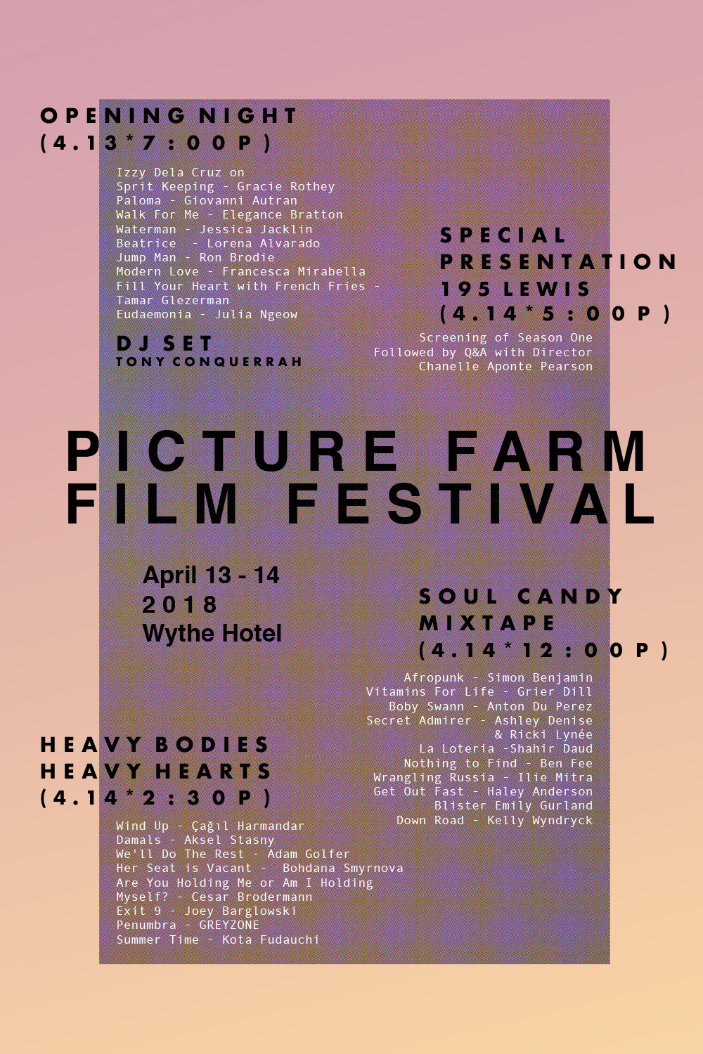 Picture Farm Film Festival 2018 Lineup w/ SECRET ADMIRER!