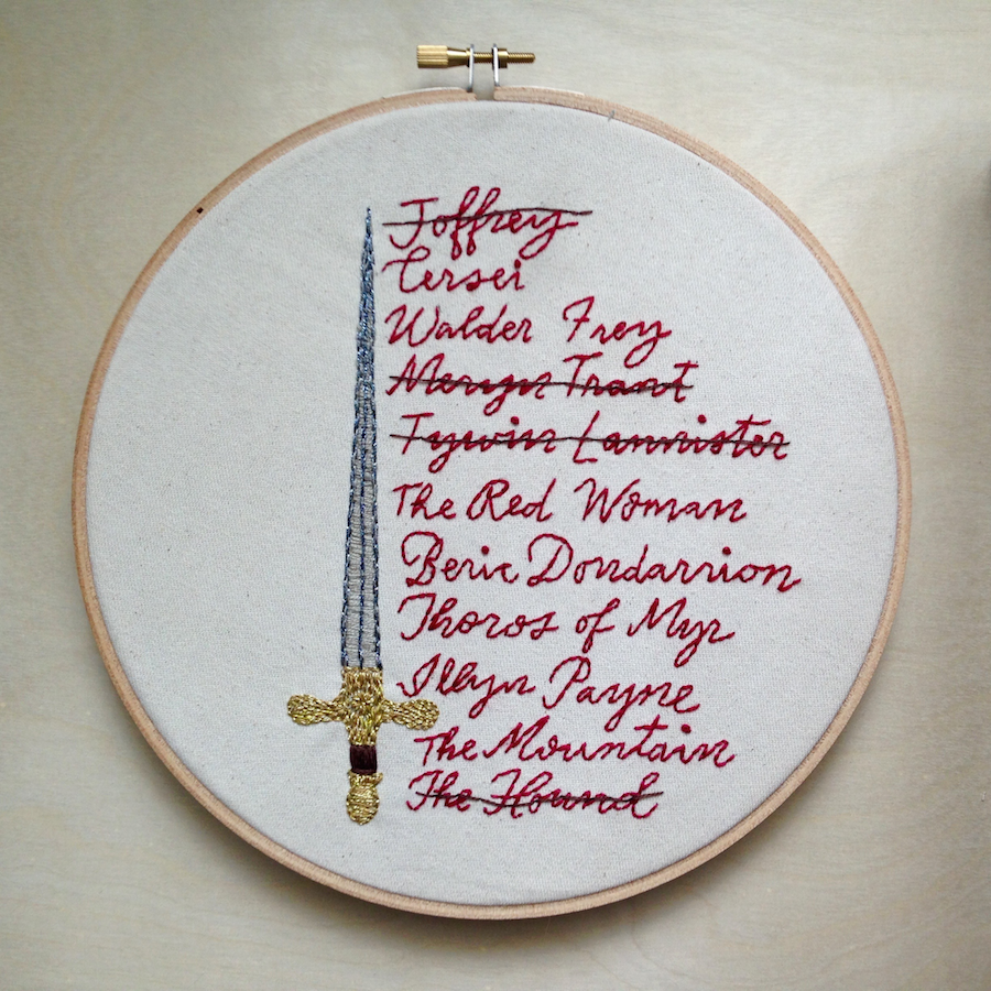 Arya's List: Embroidery Pattern inspired by Game of Thrones