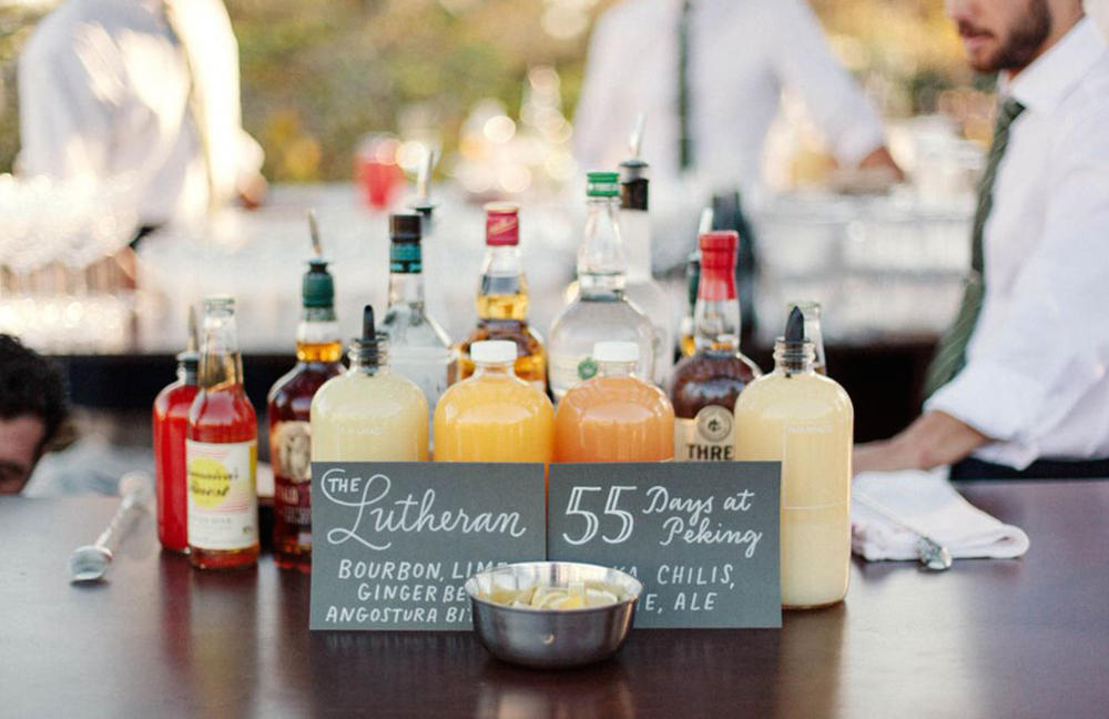 Simple signature cocktail signs