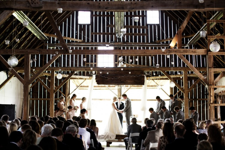 Bride and Groom Wedding Ceremony at the Enchanted Barn