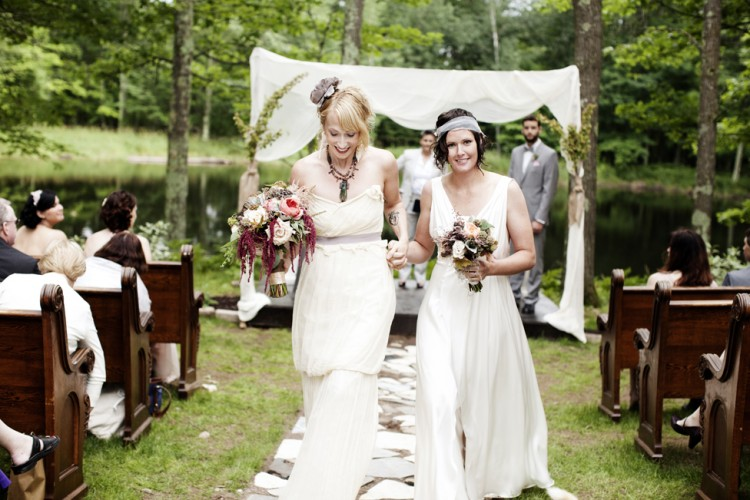 brides walking down the aisle