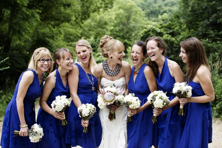 Wedding bridal party holding bouquets