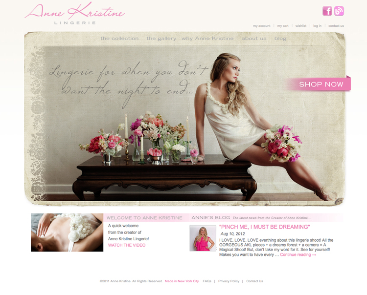 Anne Kristine Lingerie Website screenshot