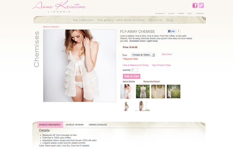 Anne Kristine Lingerie Website screenshot-2