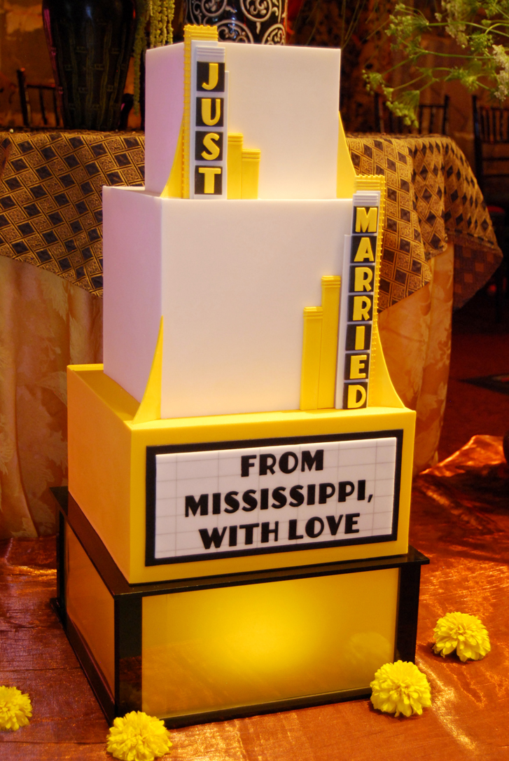 Gateaux Inc theater themed wedding cake