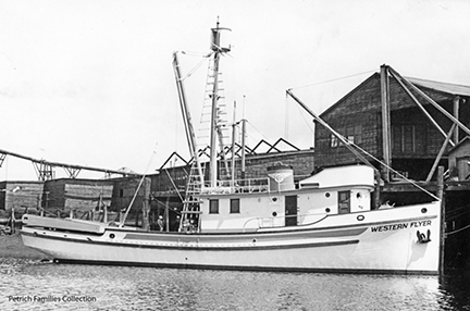 The   Western Flyer   at her 1937 Tacoma launch at Western Boat Builders. Courtesy of the Petrich Family Collection