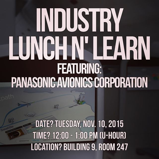 Industry Lunch n' Learn is here! Enjoy a slice of pizza while industry talks about their company and employment opportunities! We will be having Panasonic Avionics as our guest this week! See you there! Tuesday, U-HOUR at room 9-247 #ieee #cppieee #calpolypomona #cpp #cppengineering