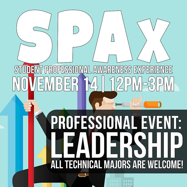 Don't miss out on SPAx! It's the Student Professional Awareness Experience where you can develop your soft and leadership skills! It will be tomorrow from 12pm to 3pm in Ursa Major - BSC. Tickets are available at cppieee.org/spax #ieee #cppieee #calpolypomona #cpp #cppengineering #spax #ieeespax