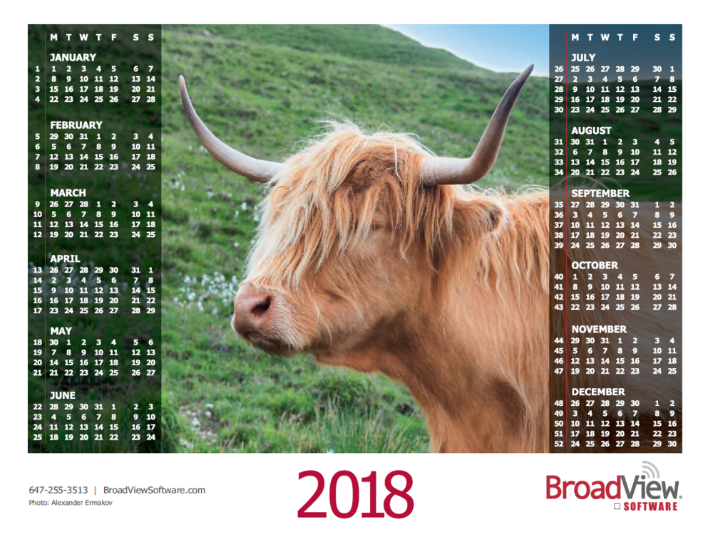 download 2018 broadcast calendars set