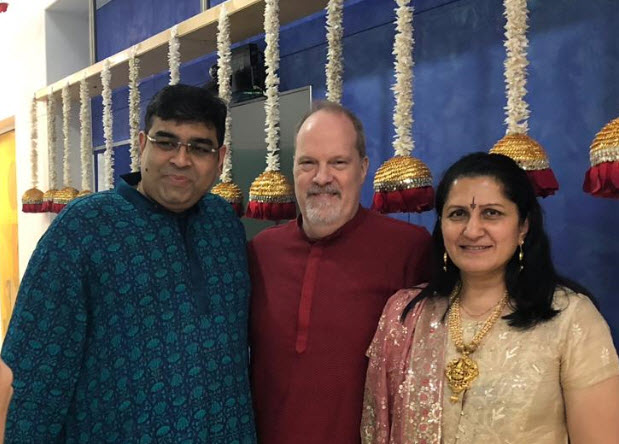 BroadView President Michael Atkin (center) with Sumit Suri of U-TO Solutions and his wife Taru in Mumbai for Diwali Celebrations.