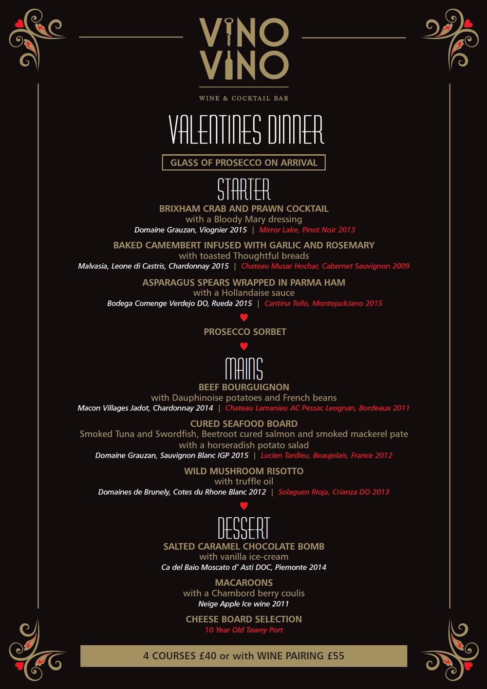 Vino Vino Valentines Dinner Menu