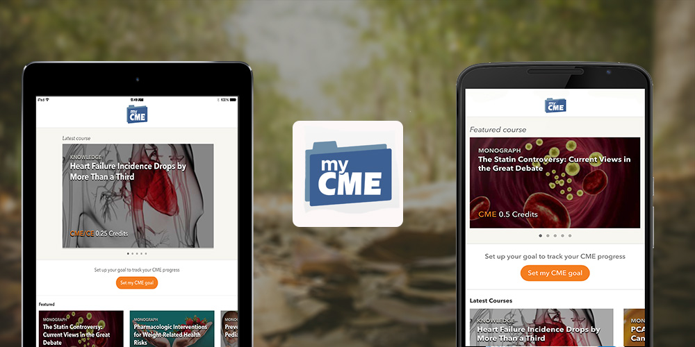 Mobile Apps for myCME, the fastest growing online source of continuing medical for healthcare professionals.