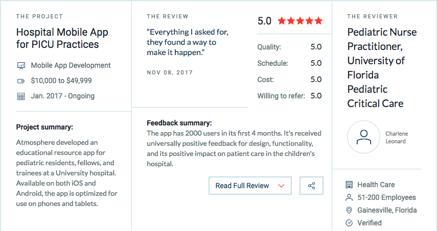 The Atmosphere Apps team is very proud of this recognition, and thanks our clients for making it possible – we look forward to building many more great apps (and relationships) in the future.   Be sure to take a look at all of the  Atmosphere Apps' reviews   on Clutch or to learn more about how we were evaluated.