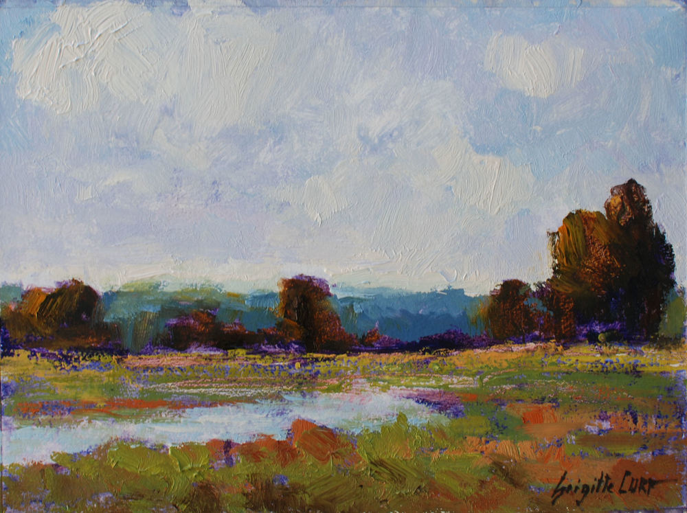 Soft Marshes  9 x 12  Oil on Paper