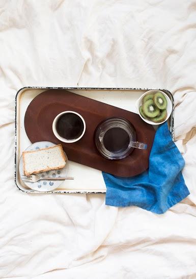 pictured: teranishi leather tray for elm, julia paul handthrown ceramic mug, hario v60 glass server, sweet slice of cardamom cake by london plane.