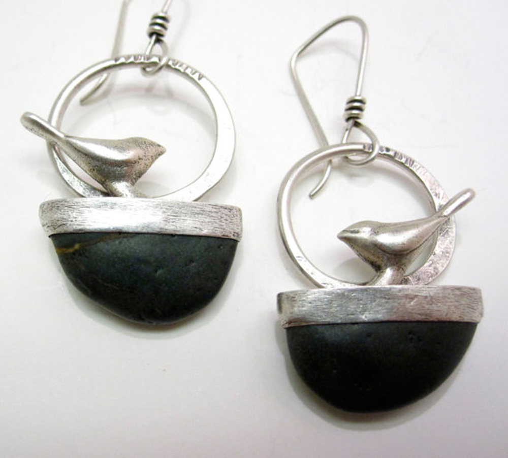 Bird on Stone Earrings