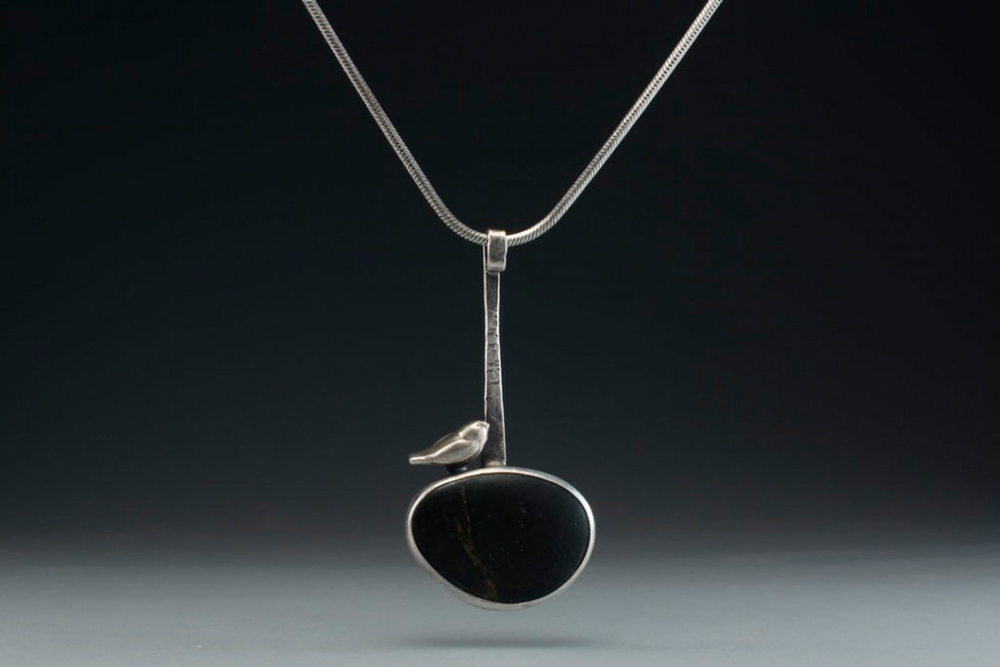 Bird on Stone Pendant