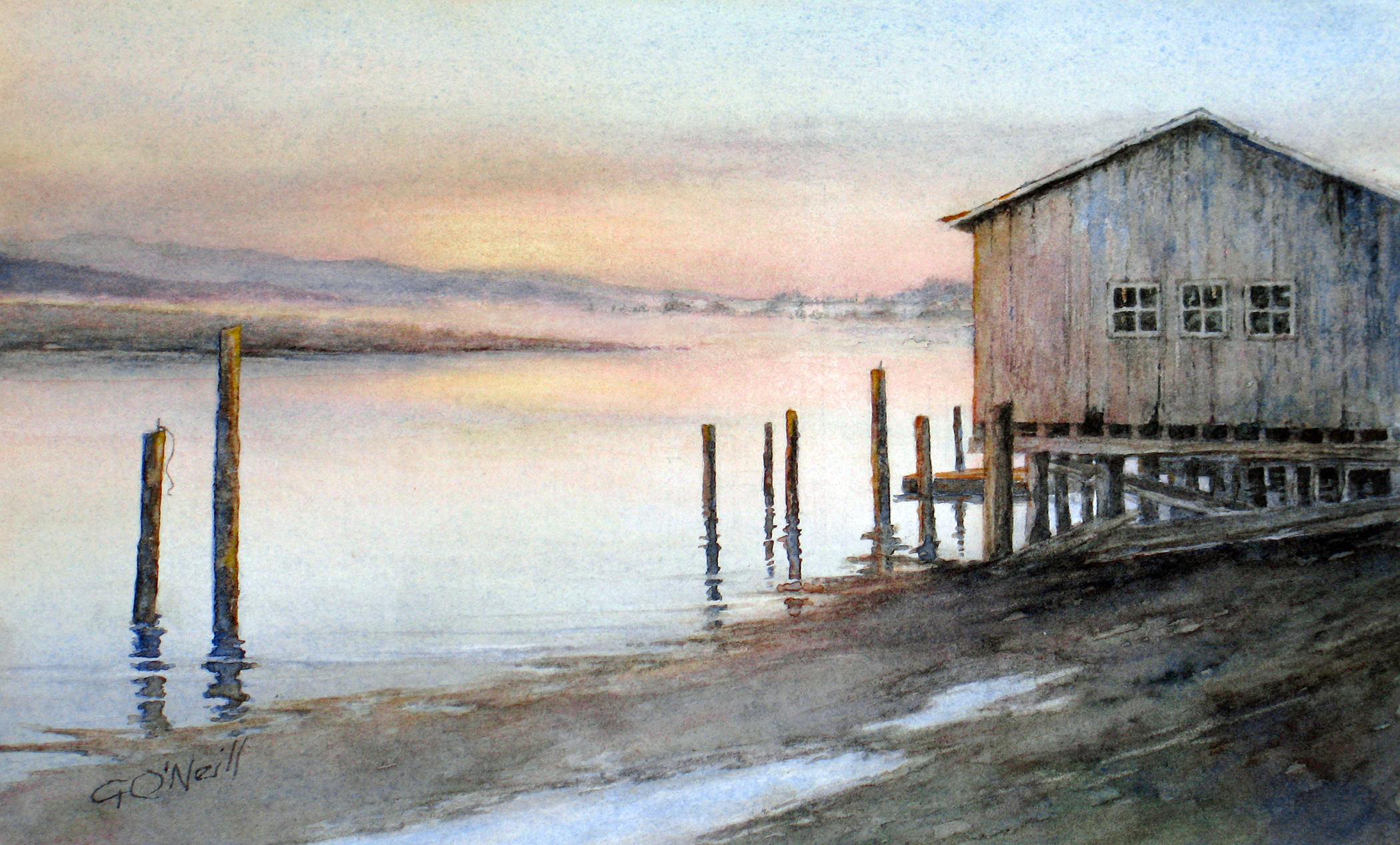 Ginny O'Neill, Morning on the Bay, Watercolor
