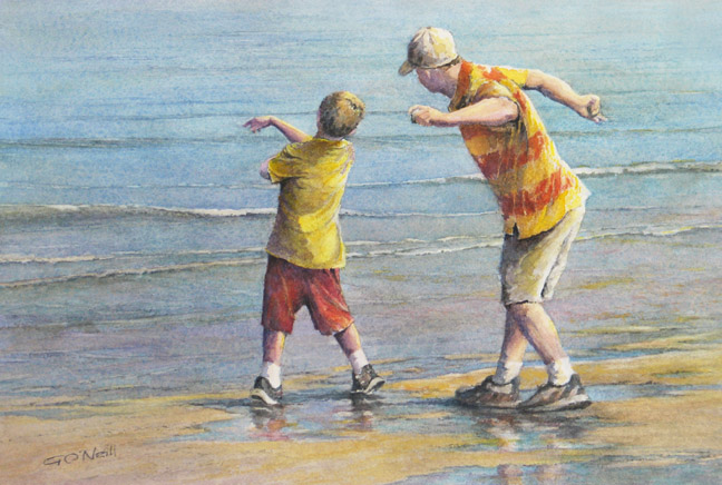 Skipping Stones, Ginny O'Neill, Watercolor