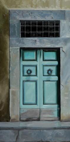 Turquoise Door, Oil, Rene Flynn Federspiel