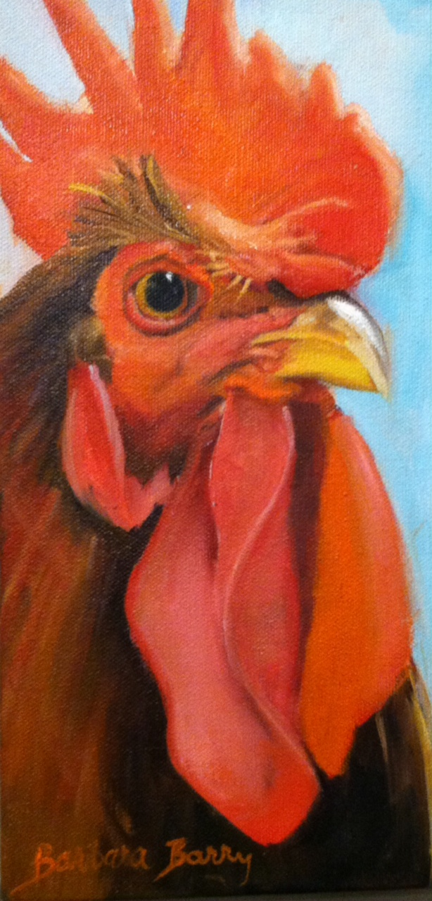 Welsummer Rooster, Oil, Barbara Barry