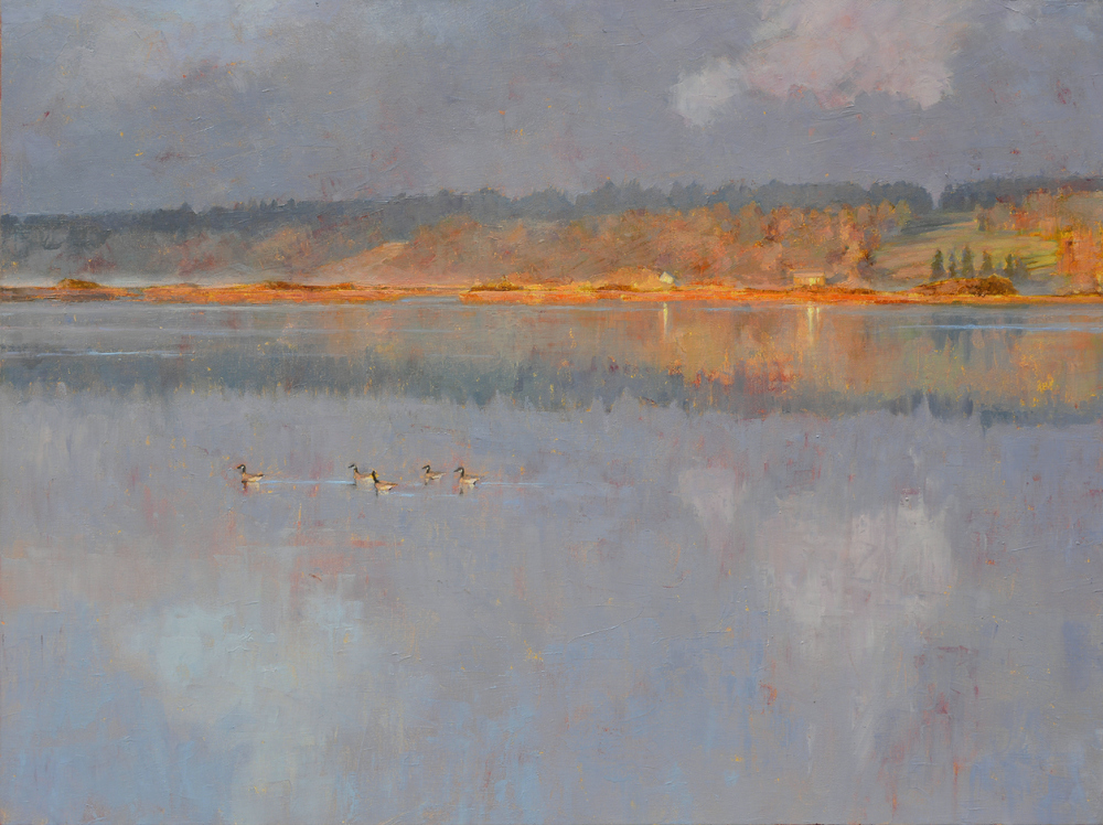 Sunrise With Canada Geese, oil, 24 x 30