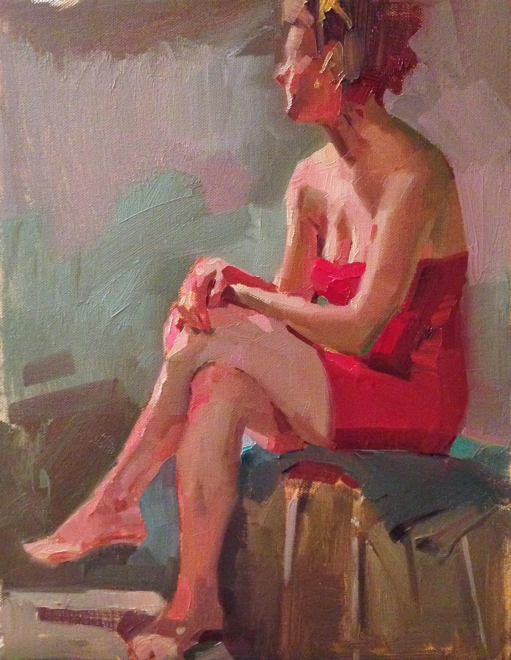 Red Reverie, oil,  11x14