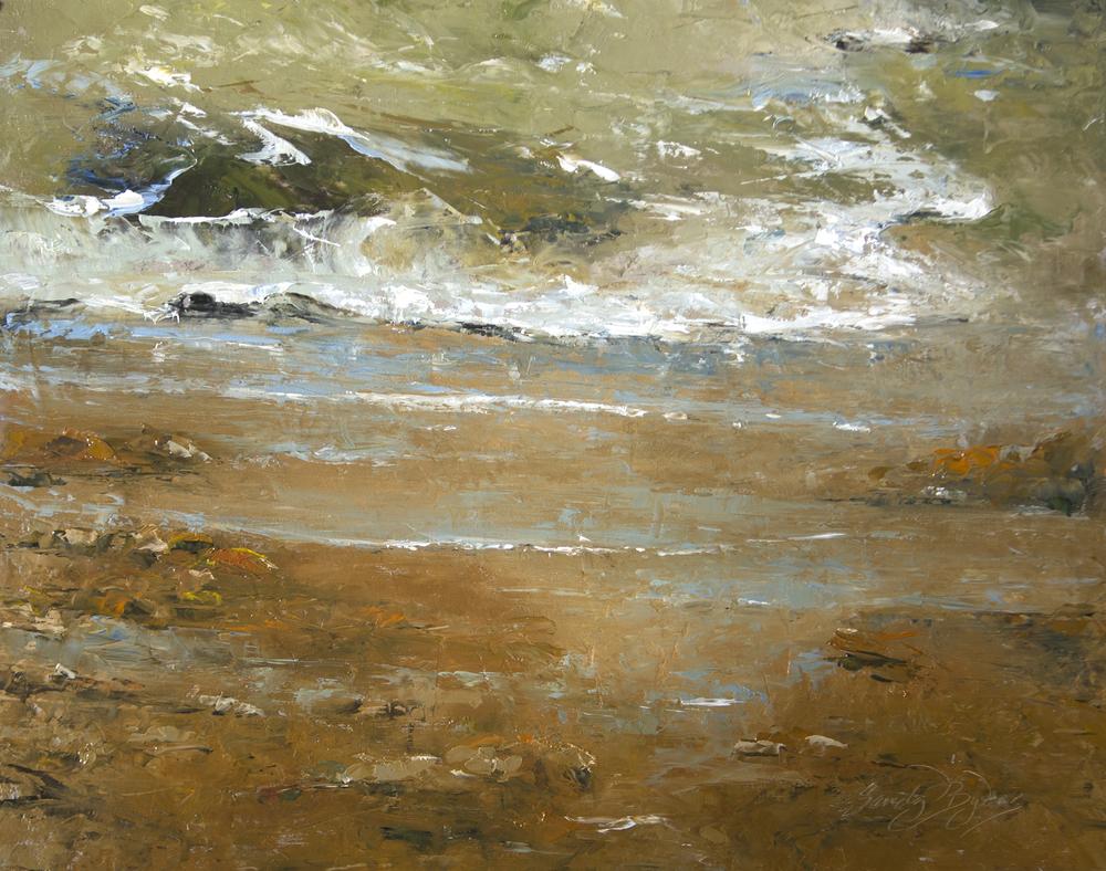 Stoney Beach, 16x20 oil on panel