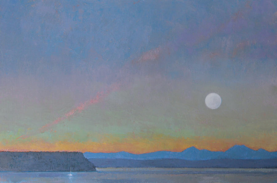 Saratoga Passage Moonrise, oil, 24 x 36