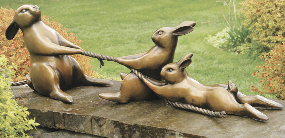 Georgia Gerber,  Tug of War , bronze, 2016
