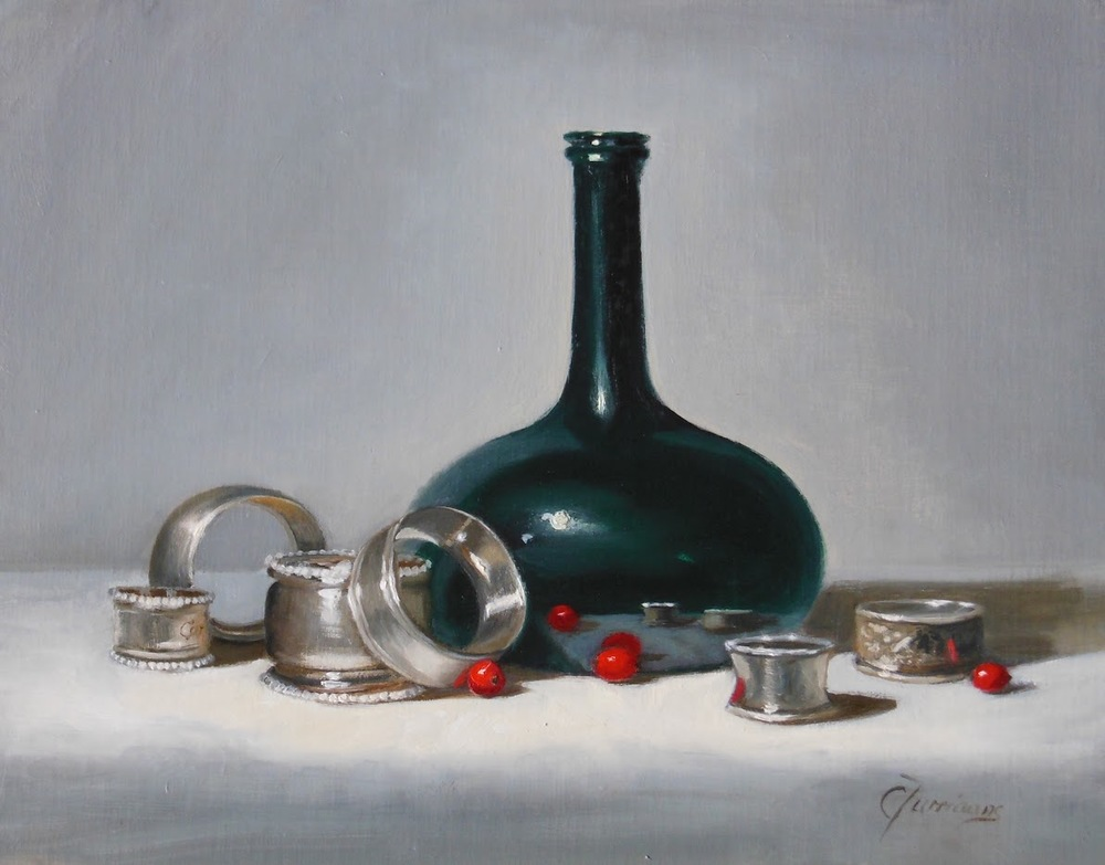 "Cary Jurriaans, Napkin Rings, 11"" x 14"", oil, $750"