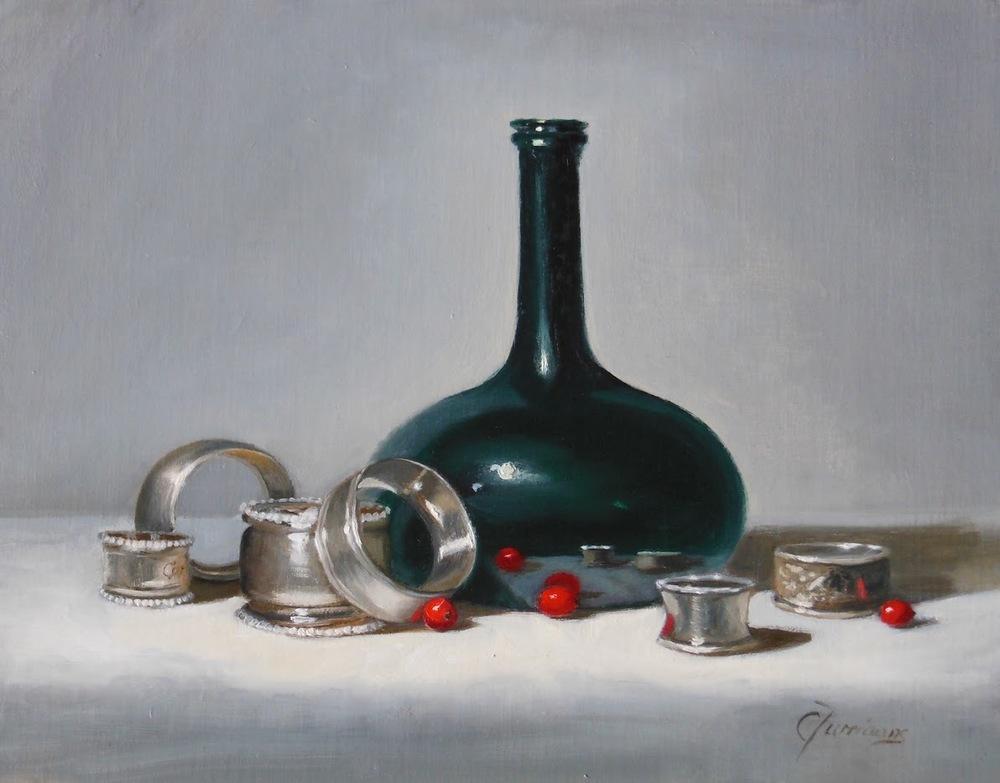 "Cary Jurriaans,  Napkin Rings , 11"" x 14"", oil, $750"