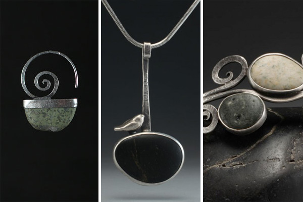 Rebecca Bashara's designs reverberate with the peace, freedom, and spontaneity of a walk on the beach, a hike along a river trail, a climb up a mountain peak, or a meditation in the deepest of woods. Her jewelry contains stones from the Puget Sound (many collected on Whidbey Island) and the Columbia River Gorge, where Rebecca lives and works in rural Klickatat, Washington. The fact that her creativity springs from her everyday life is apparent if you visit her. Her house is her studio: smooth shimmering stones lie drying in her bathtub and sink; her kitchen table is a rotating mosaic of shapes, colors, and textures; stones and metal gather in heaps and mounds, stirring for Rebecca to cut and work them into artistic pieces of adornment.