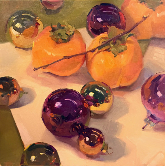 Persimmons and Purple Ornaments