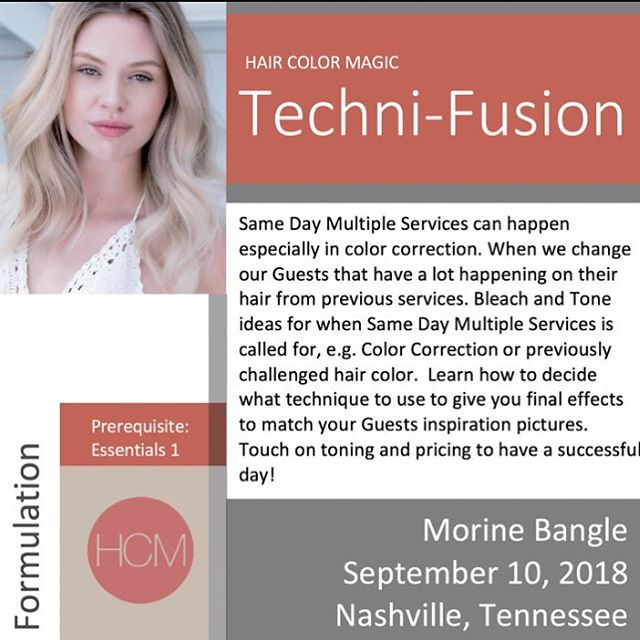 #HairColorMagic Class #TechniFusion Nashville, TN with @morinebangle @aveda Monday, September 10, 2018  Enrollment avedapurepro.com  #💙❤️💛 #HCM #MorineBangle
