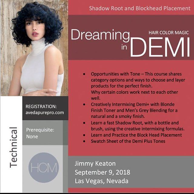 #HairColorMagic Class #DreaminginDemi Las Vegas, NV with @jimmykeaton75 @aveda Sunday, September 9, 2018  Enrollment avedapurepro.com  #💙❤️💛 #HCM #jimmykeaton75 #aveda
