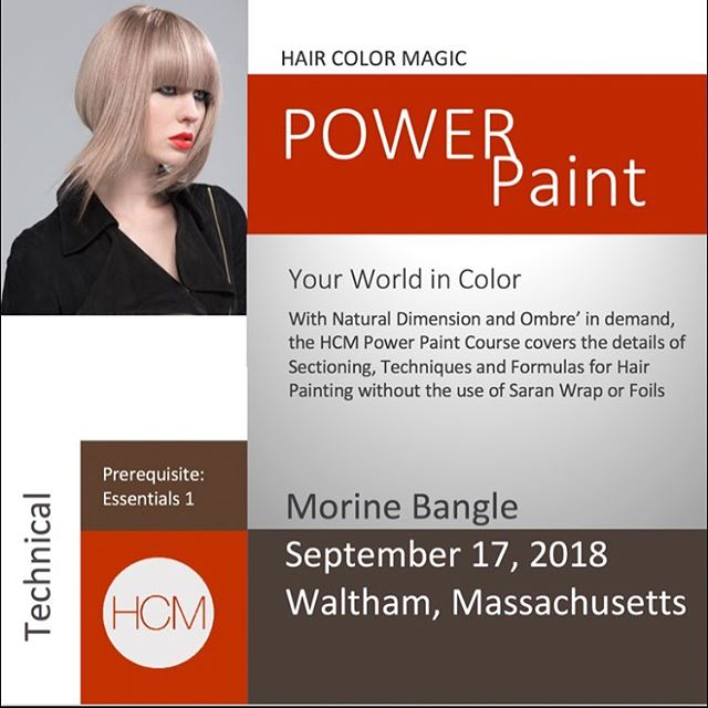 Monday, September 17, 2018 #HairColorMagic Class, #PowerPaint, Waltham, MA with Morine Bangle @morinebangle @aveda Enrollment avedapurepro.com  #💙❤️💛 #HCM #HairColorMagic #morinebangle #aveda