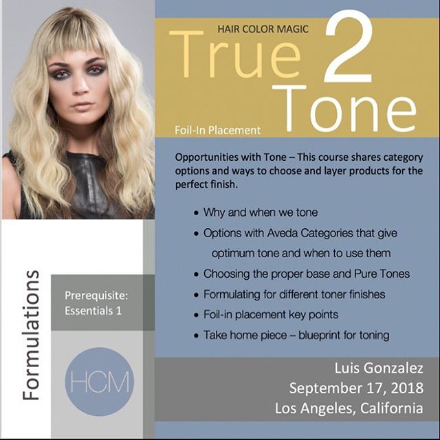 Monday, September 17, 2018 #HairColorMagic Class, #True2Tone, Los Angeles, CA with Luis Gonzalez @luisgonzalezhaircolor @aveda Enrollment avedapurepro.com  #💙❤️💛 #HCM #HairColorMagic #luisgonzalez #aveda