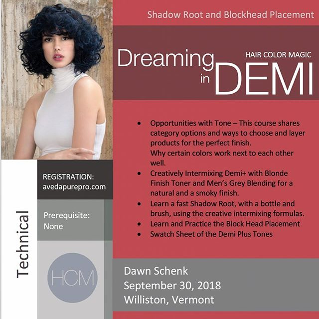 #HairColorMagic Class #DreaminginDemi Williston, VT with Dawn Schenk @dawnsypants @aveda Sunday, September 30, 2018  Enrollment avedapurepro.com  #💙❤️💛 #HCM #HairColorMagic #dawnsypants #aveda