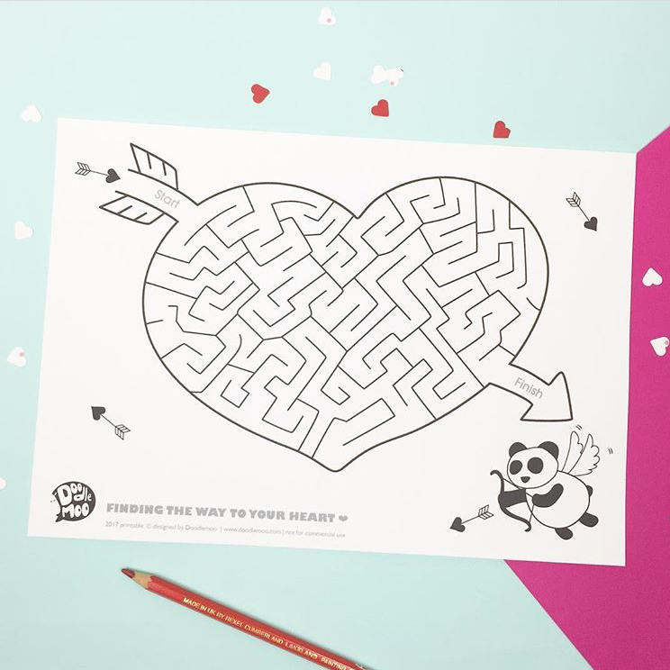 Free kids Valentine printable from talented mama Emily of Doodlemoo. No code needed!