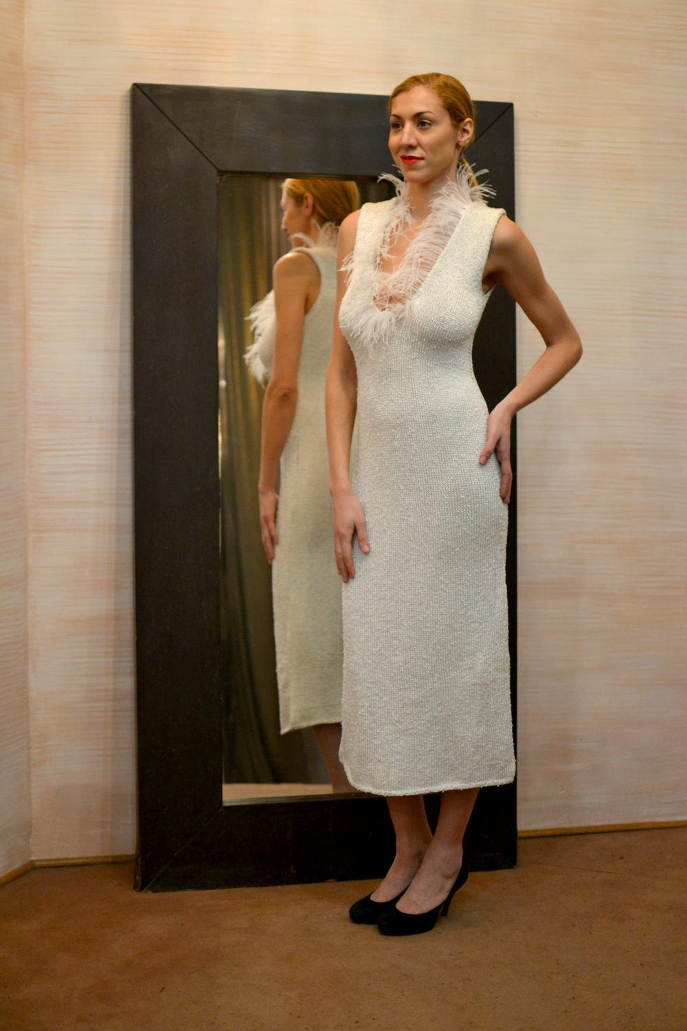LOOK 21  •  white deep v neck knitted dress w/feathers