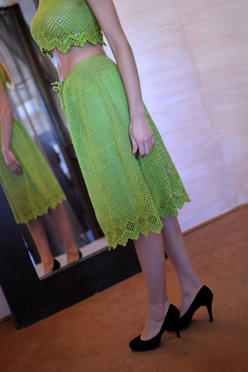 LOOK 1  •  lime crocheted crop top  •  green knitted wrap  •  lime crocheted a-line skirt