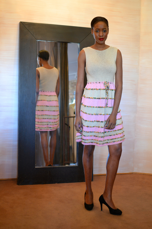 LOOK 9 • beige/carnation/garden knitted sleeveless dress