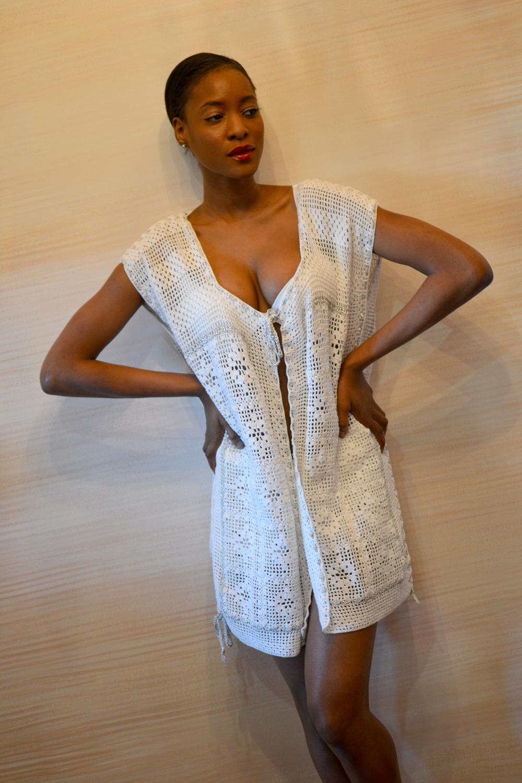 LOOK 15 • white/platinum metallic crocheted tunic • white crocheted shorts