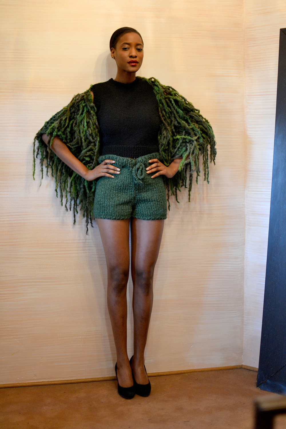 LOOK 13  •  black sleeveless top  •  forrest high waisted shorts  •  shades of green knitted shawl