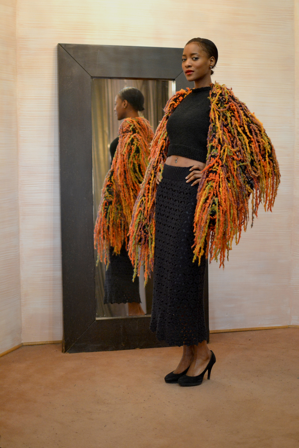 LOOK 12  •  black sleeveless knitted top  •  black long straight crocheted skirt  •  shades of orange knitted shawl