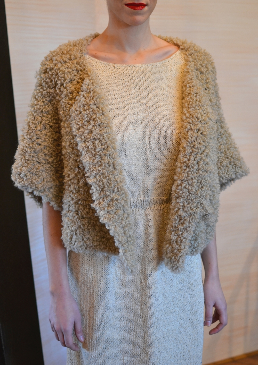 • LOOK 10  •  beige knitted vest w/sleeves  •  wheat cut out knitted dress