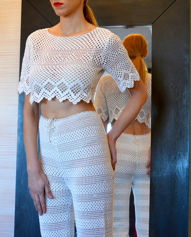 LOOK 16  •  white short sleeve crocheted cropped top  •  white high waisted crocheted pants