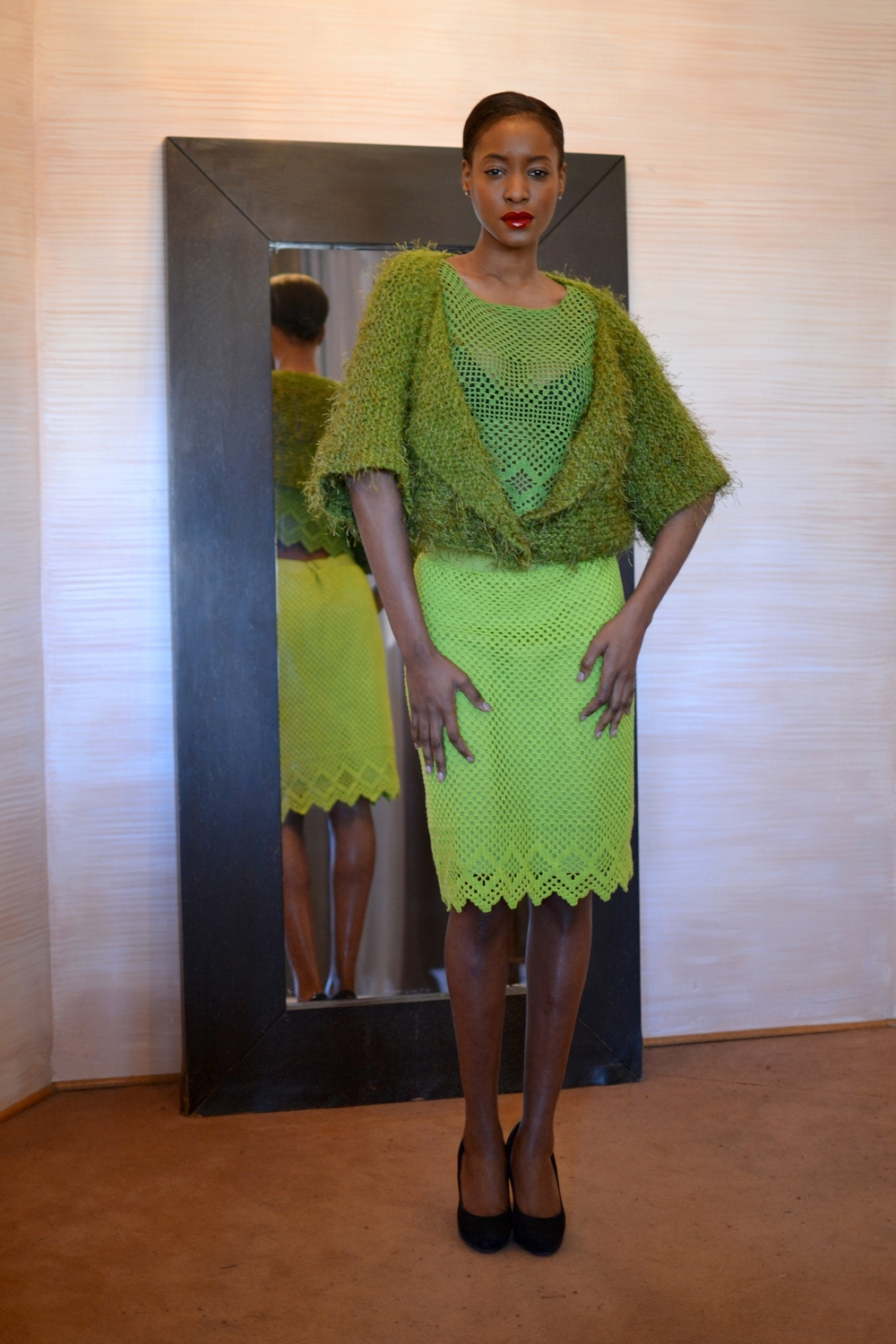 LOOK 2 • avocado knitted vest w/sleeves  •  green crocheted cropped top  •  lime crocheted pencil skirt